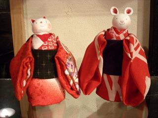 猫とねずみの和人形